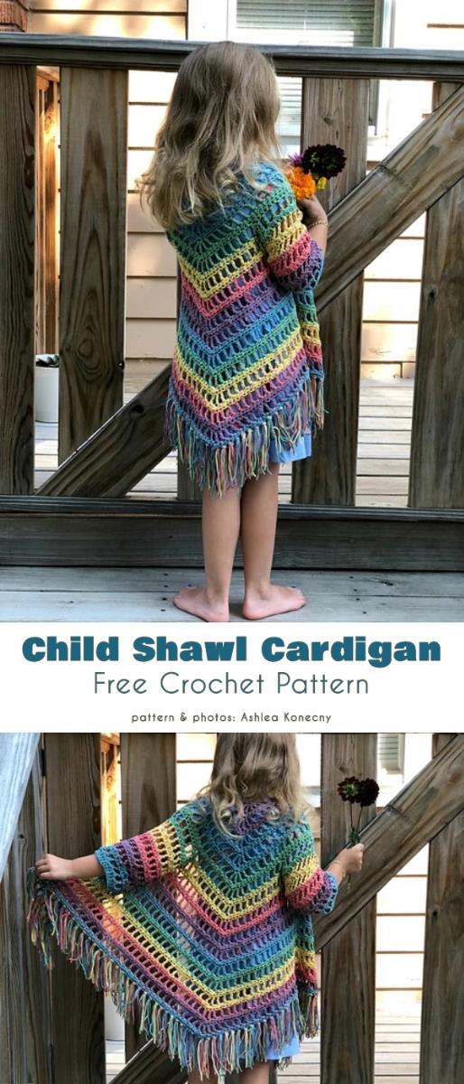 Child Shawl Cardigan Free Crochet Pattern