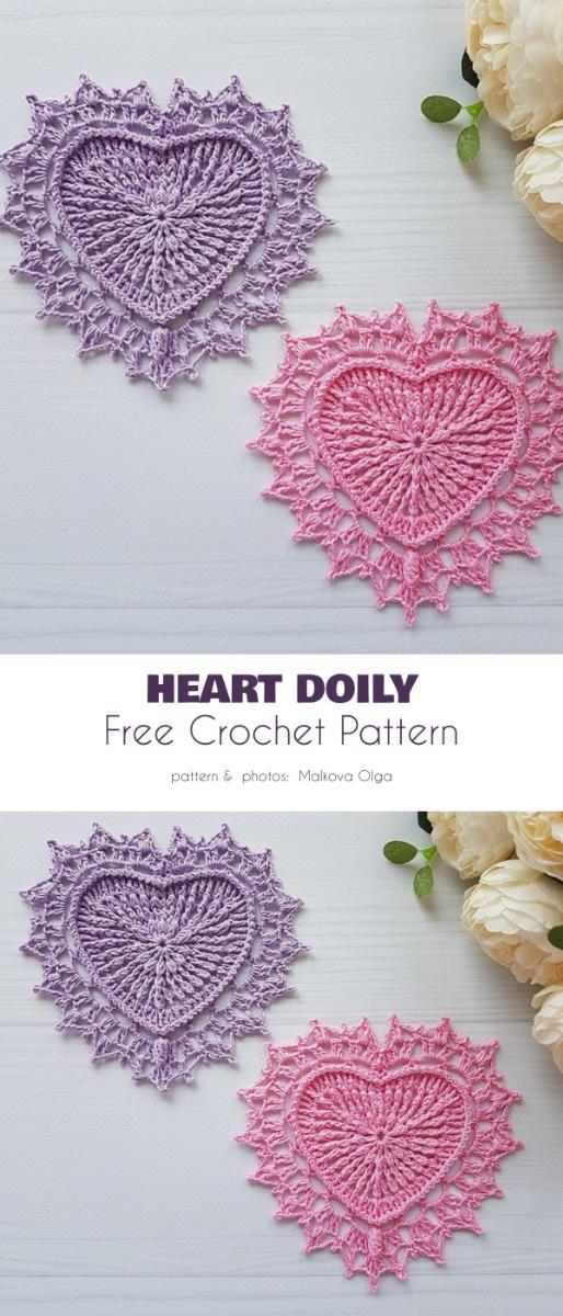 Heart Doily Free Crochet Patterns
