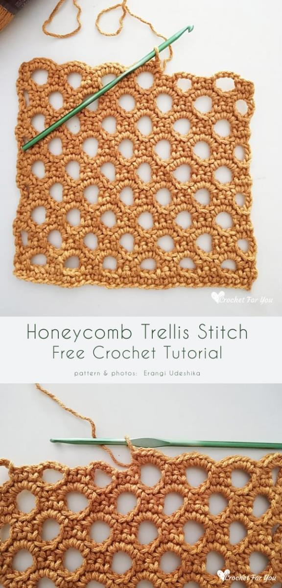 Honeycomb Trellis Stitch Free Crochet Tutorial