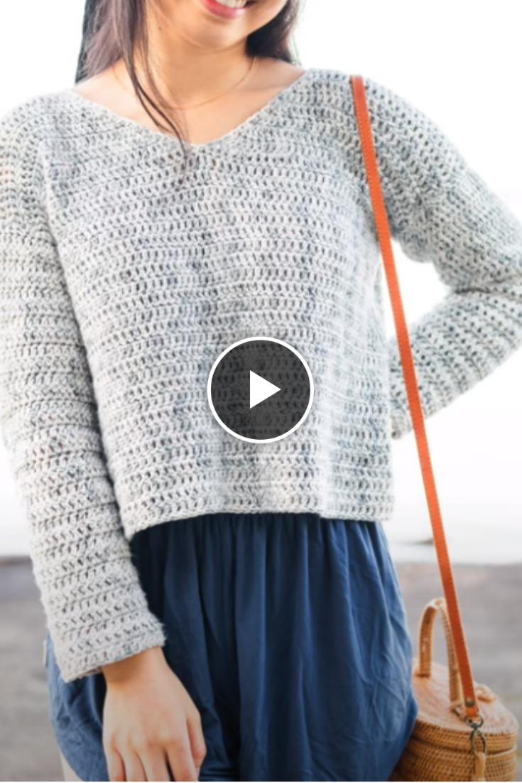 Easy V-Neck Crochet Sweater Knitting Tutorial